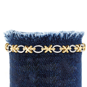 Sterling Silver and 14kt Yellow Gold XO Link Bracelet