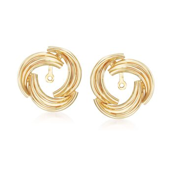 14kt Yellow Gold Curved Swirl Earring Jackets , , default