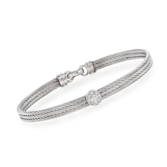 "ALOR ""Classique"" Gray Cable Station Bracelet with Diamond Accents and 18kt White Gold. 7"""