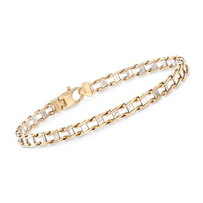 Men's 14kt Two-Tone Gold Railroad Link Bracelet, , default