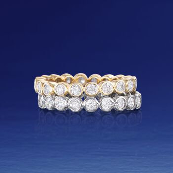 1.00 ct. t.w. Bezel-Set Diamond Eternity Band in 14kt Yellow Gold, , default