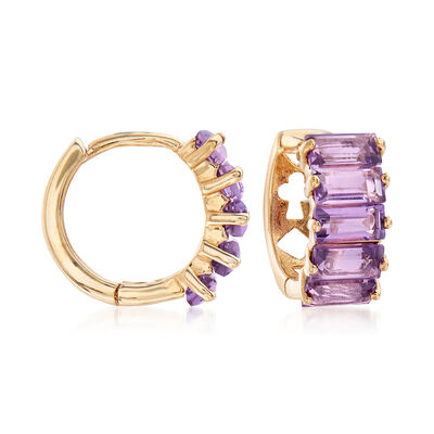 2.50 ct. t.w. Amethyst Hoop Earrings in 14kt Yellow Gold, , default