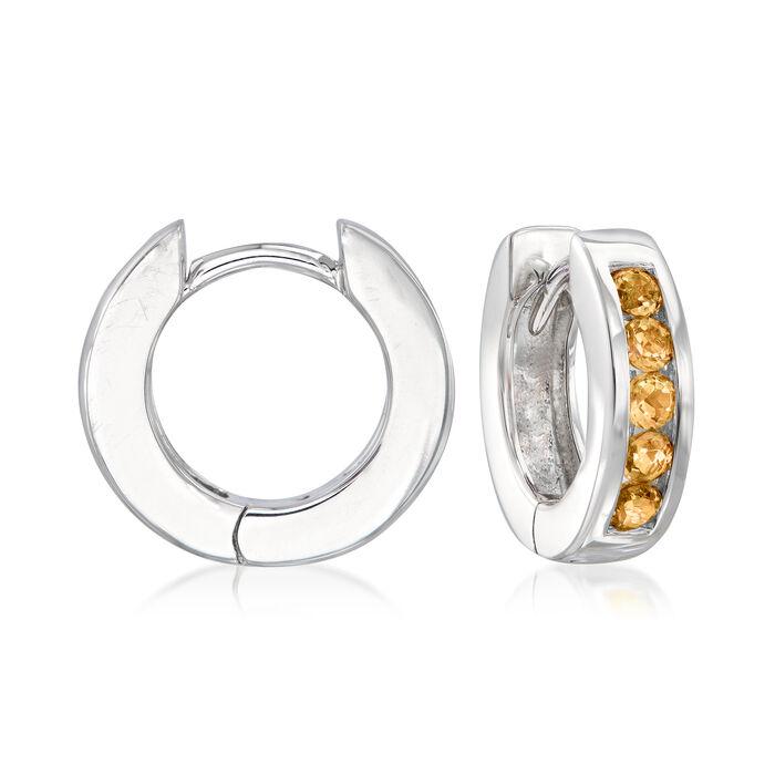 .70 ct. t.w. Orange Citrine Huggie Hoop Earrings in Sterling Silver