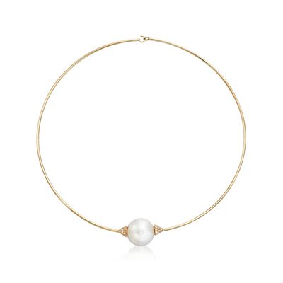 16-16.5mm Cultured Pearl and .12 ct. t.w. Diamond Choker Necklace in 14kt Yellow Gold, , default