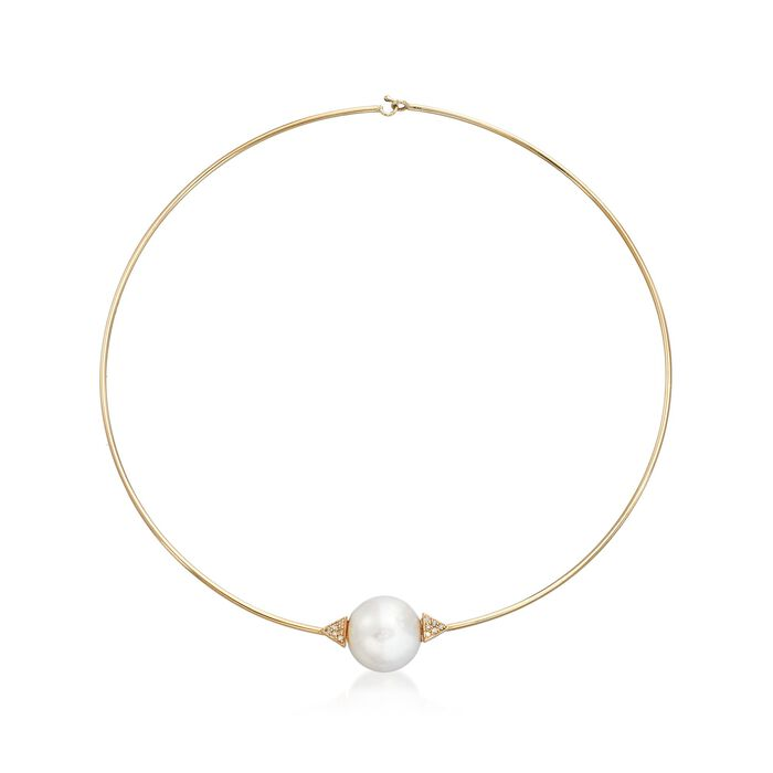 """16-16.5mm Cultured Pearl and .12 ct. t.w. Diamond Choker Necklace in 14kt Yellow Gold. 16"""", , default"""