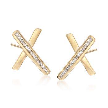 .30 ct. t.w. Diamond Crisscross Earrings in 14kt Gold Over Sterling, , default