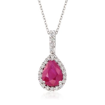 "1.25 Carat Ruby and .15 ct. t.w. Diamond Pendant Necklace in 14kt White Gold. 16"", , default"