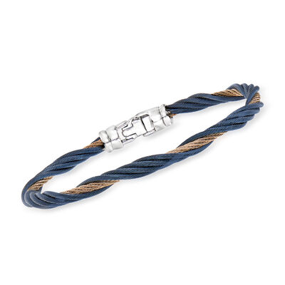 ALOR Blue and Carnation Stainless Steel Twisted Cable Bracelet