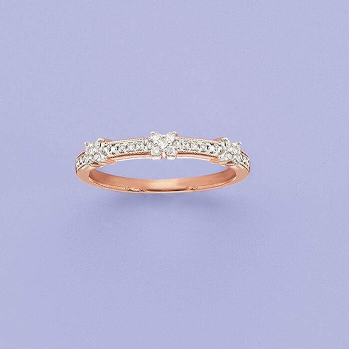 .15 ct. t.w. Diamond X Ring in 14kt Rose Gold