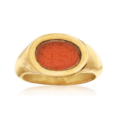 C. 1960 Vintage Carnelian Intaglio Ring in 22kt Yellow Gold