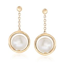 6-6.5mm Cultured Pearl Drop Earrings in 14kt Yellow Gold , , default