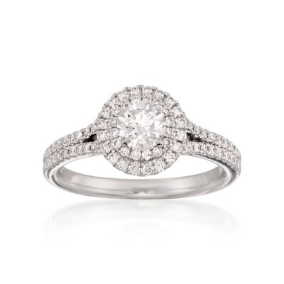 Henri Daussi .90 ct. t.w. Certified Diamond Halo Engagement Ring in 18kt White Gold