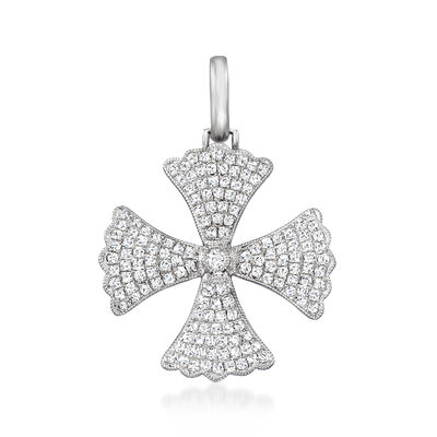 .62 ct. t.w. Diamond Cross Pattee Pendant in 14kt White Gold