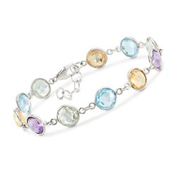 18.00 ct. t.w. Bezel-Set Multi-Stone Bracelet in Sterling Silver, , default