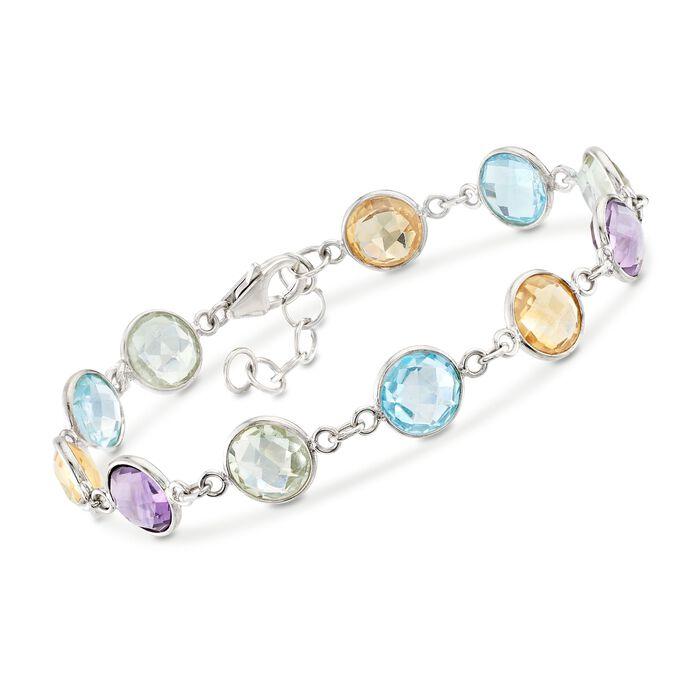 18.00 ct. t.w. Bezel-Set Multi-Stone Bracelet in Sterling Silver, , default