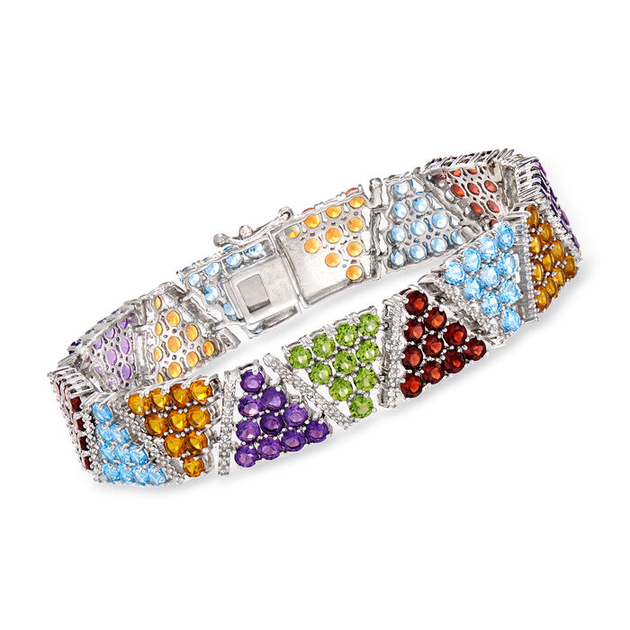 22.70 ct. t.w. Multi-Gemstone Geometric Bracelet in Sterling Silver. 8.5""