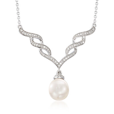 9-9.5mm Cultured Pearl and .24 ct. t.w. Diamond Necklace in Sterling Silver, , default