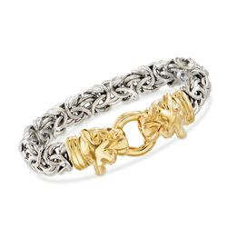 Italian Two-Tone Sterling Silver Double Panther Head Bracelet, , default
