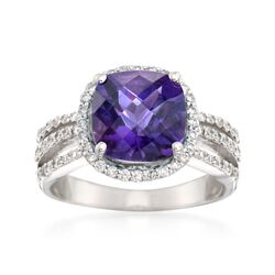 2.60 Carat Amethyst Ring and .55 ct. t.w. Diamond Ring in 14kt White Gold, , default