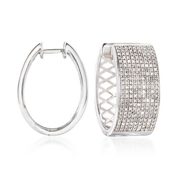 "1.00 ct. t.w. Diamond Wide Hoop Earrings in Sterling Silver. 7/8"", , default"