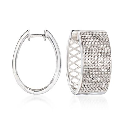 1.00 ct. t.w. Diamond Wide Hoop Earrings in Sterling Silver, , default