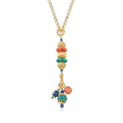 Italian Simulated Coral and 30.00 ct. t.w. Green and Blue Quartz Pendant Necklace in 18kt Gold Over Sterling, , default
