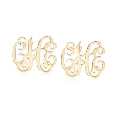 14kt Yellow Gold Small Monogram Earrings