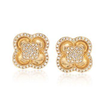 .40 ct. t.w. Diamond Clover Post Earrings in 14kt Yellow Gold, , default