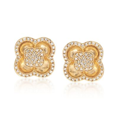 .40 ct. t.w. Diamond Clover Post Earrings in 14kt Yellow Gold, , default