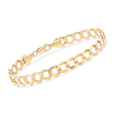 Men's 8.2mm 14kt Yellow Gold Faceted Curb-Link Chain Bracelet, , default