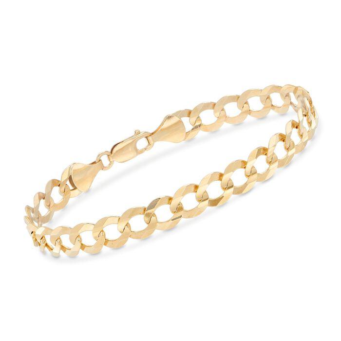 "Men's 8.2mm 14kt Yellow Gold Faceted Curb-Link Chain Bracelet. 8.5"", , default"
