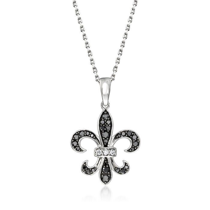 .25 ct. t.w. Black and White Diamond Fleur-De-Lis Pendant Necklace in Sterling Silver