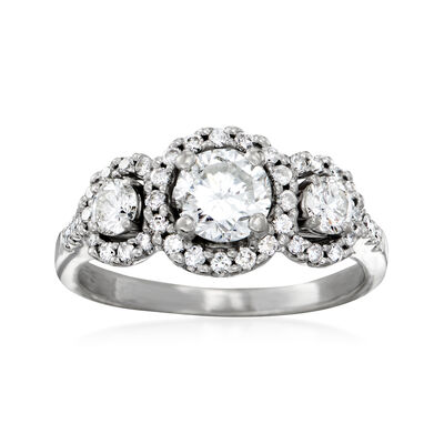 C. 1990 Vintage 1.45 ct. t.w. Diamond Three-Stone Halo Ring in 14kt White Gold