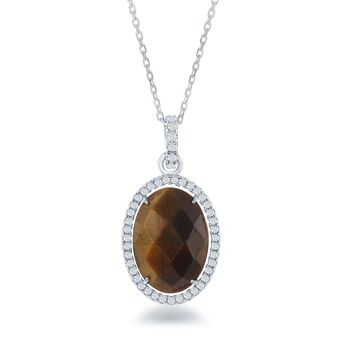 "Tiger's Eye and .50 ct. t.w. CZ Pendant Necklace in Sterling Silver. 18"", , default"