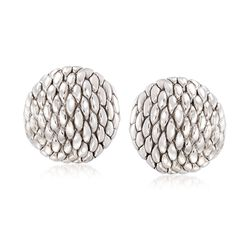 Italian Sterling Silver Rope-Style Dome Earrings , , default