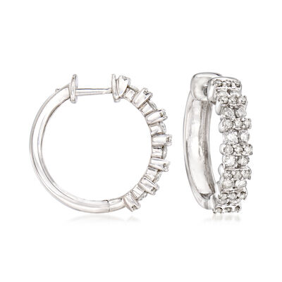 1.00 ct. t.w. Diamond Double-Row Hoop Earrings in Sterling Silver