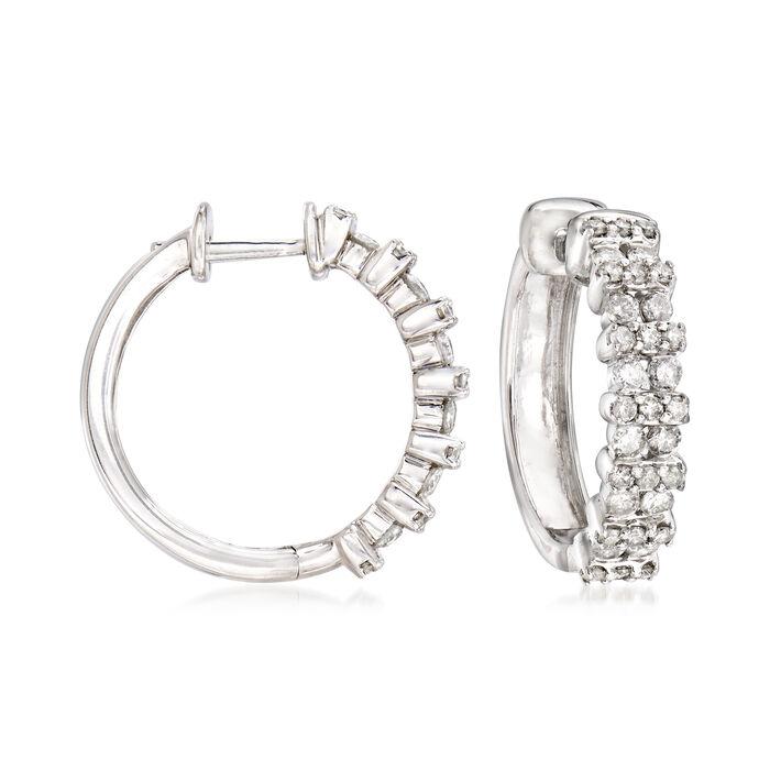 """1.00 ct. t.w. Diamond Double-Row Hoop Earrings in Sterling Silver. 5/8""""."""