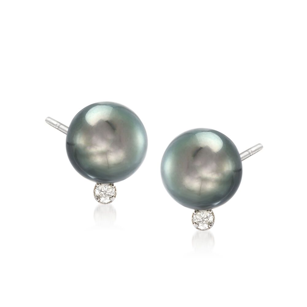 9 10mm Black Cultured Tahitian Pearl Earrings With 10 Ct T W Diamonds In