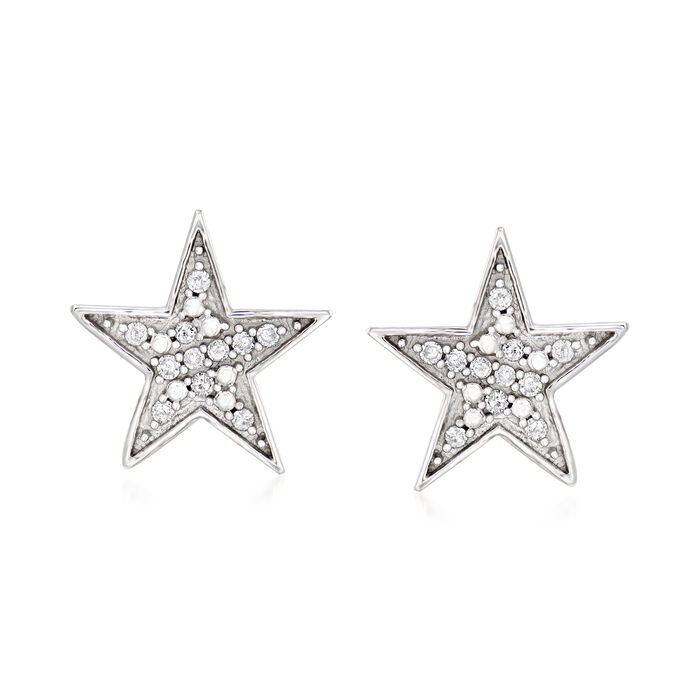 14kt White Gold Star Earrings with Diamond Accents