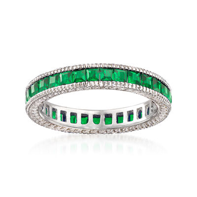 Simulated Emerald Eternity Band in Sterling Silver, , default