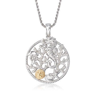 .15 ct. t.w. Diamond Sea Life Pendant Necklace in Sterling Silver with 14kt Yellow Gold, , default