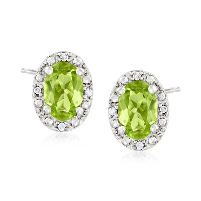 1.00 ct. t.w. Oval Peridot Stud Earrings with Diamond Accents in Sterling Silver