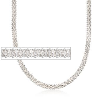 Italian 6mm Sterling Silver Popcorn Chain Necklace, , default