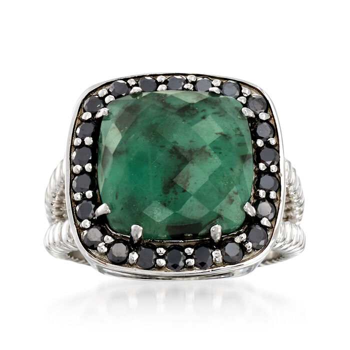 6.25 Carat Opaque Emerald and .90 ct. t.w. Black Spinel Ring in Sterling Silver