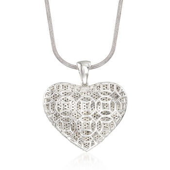 5.00 ct. t.w. Pave Diamond Heart Pendant Necklace in Sterling Silver. 18""