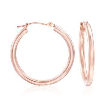 """2.5mm 14kt Rose Gold Hoop Earrings. 1"""", , default"""