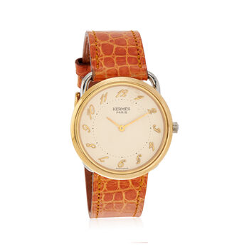 C. 1990 Vintage Hermes Women's 32mm Gold Plated Quartz Watch With Tan Leather. Size 7, , default