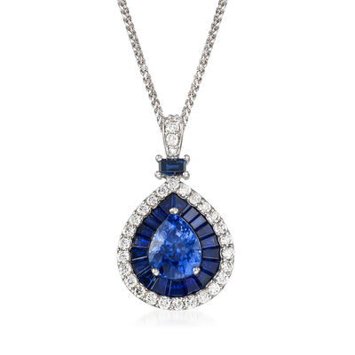 5.01 ct. t.w. Ceylon Sapphire and .60 ct. t.w. Diamond Pendant Necklace in 14kt White Gold, , default
