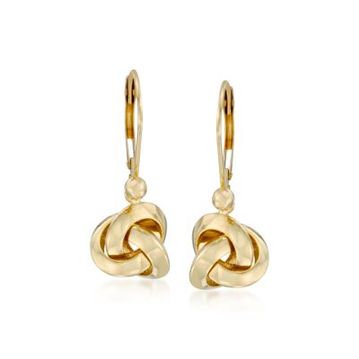 14kt Yellow Gold Love Knot Drop Earrings