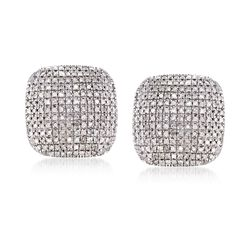 1.00 ct. t.w. Diamond Square Earrings in Sterling Silver, , default